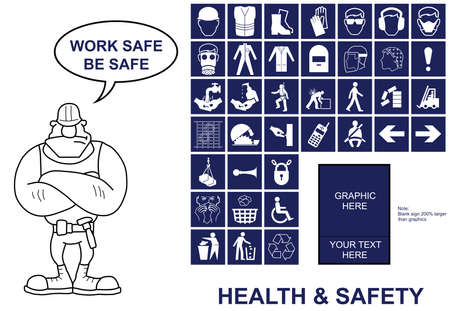 environmental policy: Make your own Health and Safety sign with copy space for provided graphics and your own text
