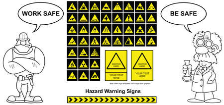 Make your own hazard warning sign with copy space for provided graphics and your own text