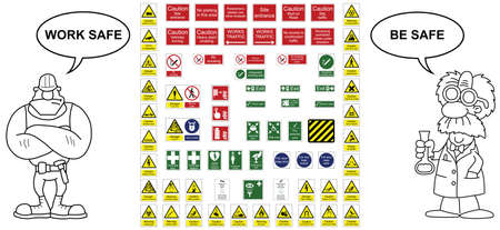 office construction: Construction industry hazard warning signs and office signs collection
