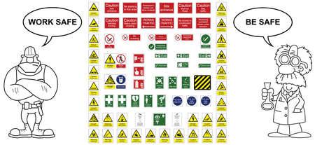 Industria delle costruzioni segnali di avvertimento di pericolo e segni ufficio collezione Vettoriali