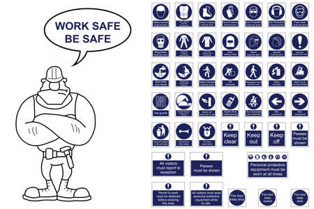 work safe: Mandatory construction signage collection isolated on white background with work safe be safe message Illustration