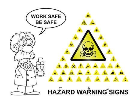 Faites votre propre panneau d'avertissement de danger avec le signe principal central et quarante graphiques de détresse connexes isolé sur fond blanc avec un travail sûr être un message en toute sécurité