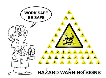 combustible: Make your own hazard warning sign with main central sign and forty related hazard warning graphics isolated on white background with work safe be safe message Illustration