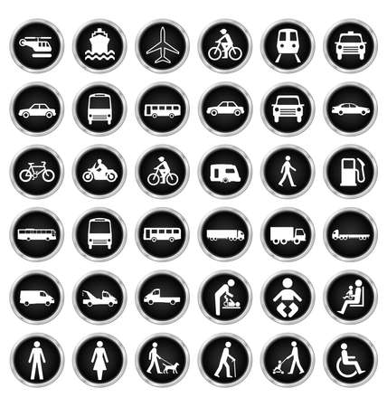 breakdown: Black and white private commercial transport and people related icon collection isolated on white background