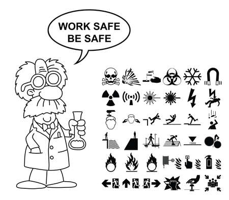 combustible: Black and white silhouette scientific hazard danger and emergency signage related graphics collection isolated on white background with work safe be safe message