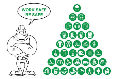 safety goggles: Green construction manufacturing and engineering health and safety related pyramid icon collection isolated on white background with work safe message