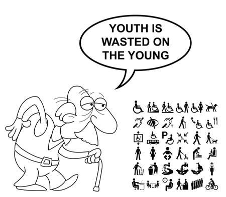 wasted: Black and white disability and people related graphics collection isolated on white background with comical youth is wasted on the young saying Illustration