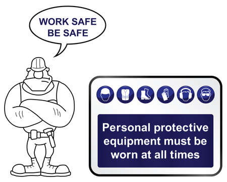 work safe: Construction mandatory health and safety sign with work safe be safe message isolated on white background