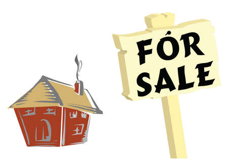 domicile: House with for sale sign isolated on white background