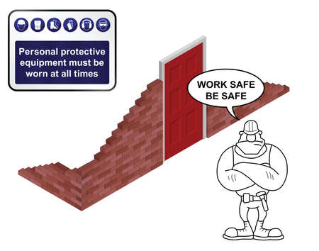 personal protective equipment: Isometric building site with health and safety sign isolated on white background with builder giving work safe be safe message Illustration
