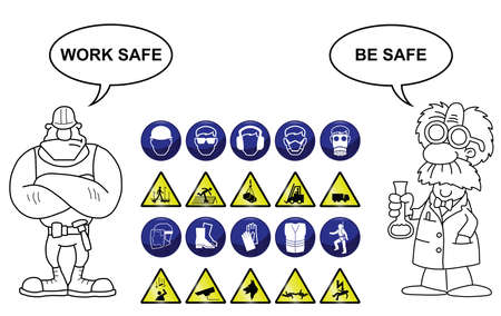 Construction related mandatory and hazards icons and signs isolated on white background with work safe be safe message Illustration