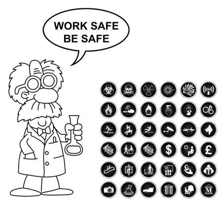 volatile: Black and white warning hazard security office finance and entertainment related icon collection isolated on white background with work safe be safe message