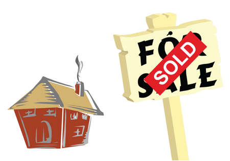 sold sign: House with for sale and sold sign isolated on white background Illustration