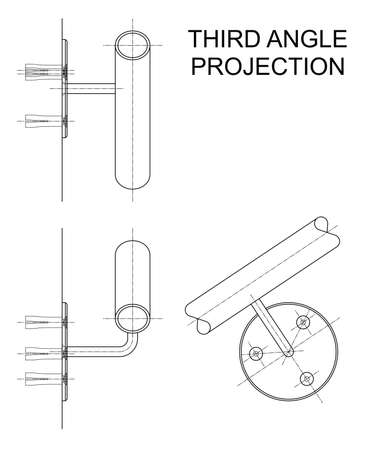orthographic: Example of third angle orthographic projection drawing using handrail wall fixing assembly to British Standard BS 8888