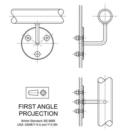 orthographic: Example of first angle orthographic projection drawing using handrail wall fixing assembly Illustration