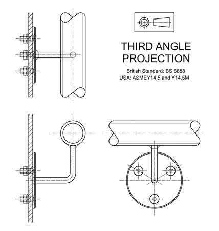 orthographic: Example of third angle orthographic projection drawing using handrail wall fixing assembly