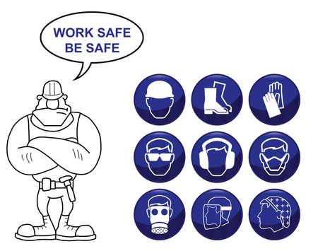 Bouw fabricage en gezondheid techniek en veiligheid gerelateerde icon set geïsoleerd op een witte achtergrond met de werkzaamheden veilig te zijn veilig bericht Stock Illustratie