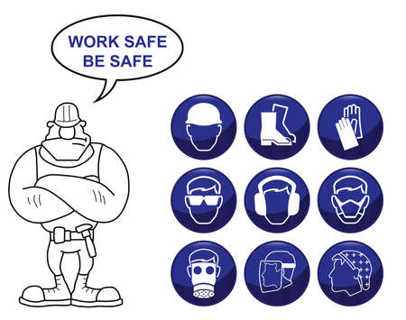 safety goggles: Construction manufacturing and engineering health and safety related icon set isolated on white background with work safe be safe message Illustration