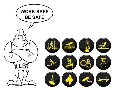 Safety and security icon set isolated on white background with work safe be safe message