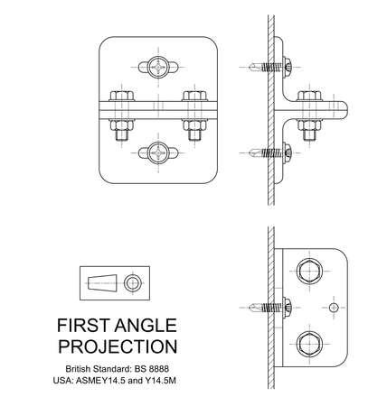 tornillos: Ejemplo de primer ángulo de proyección ortográfica de dibujo utilizando el montaje de ángulo de acero laminado Vectores