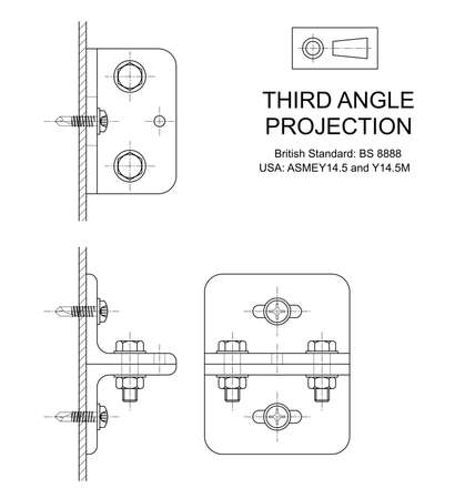 orthographic: Example of third angle orthographic projection drawing using rolled steel angle assembly