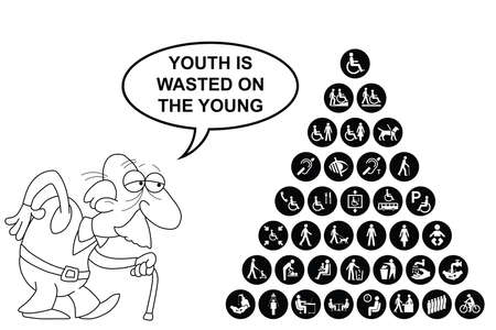 wasted: Black and white disability and people related pyramid graphics collection isolated on white background with comical youth is wasted on the young message