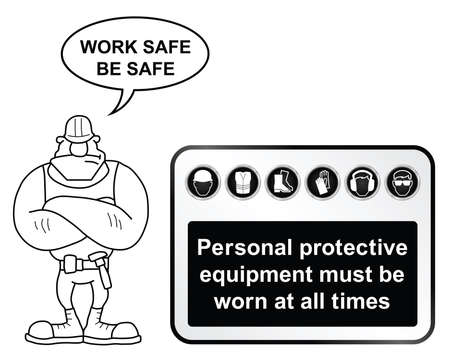 safety shoes: Black and white construction manufacturing and engineering health and safety related sign isolated on white background with builder giving work safe be safe message Illustration