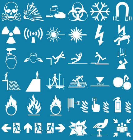 corrosive poison: Silhouette hazard danger and emergency signage related graphics collection isolated on blue background