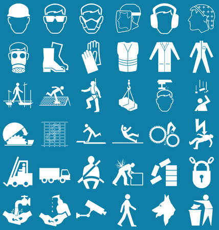 safety harness: Silhouette construction manufacturing and engineering health and safety related graphics set isolated on blue background
