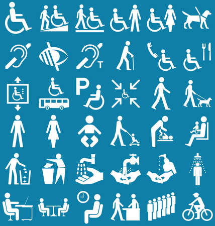 hearing: Silhouette disability and people related graphics collection isolated on blue background