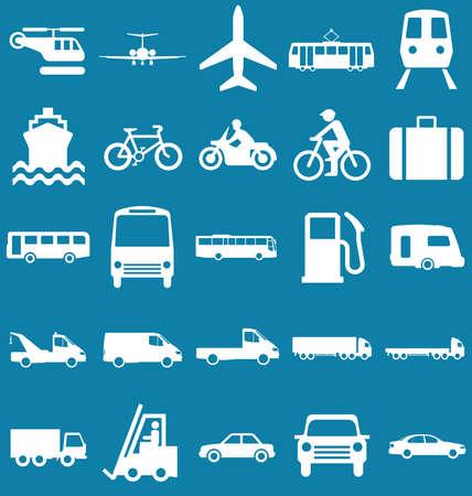 シルエットの輸送と旅行関連の青の背景に分離したグラフィック コレクション