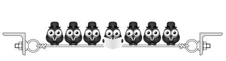 Businessmen birds roosting on a steel wire isolated on white background