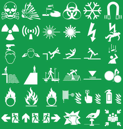 corrosive poison: Silhouette hazard danger and emergency signage related graphics collection isolated on green background