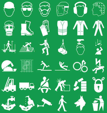 health icons: Silhouette construction manufacturing and engineering health and safety related graphics set isolated on green background