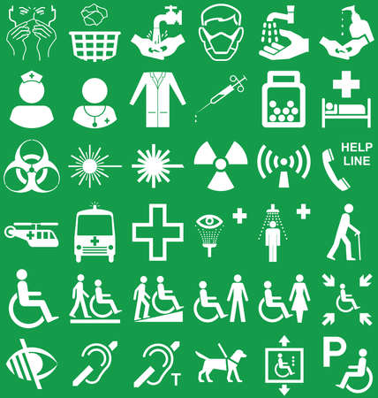 mobility nursing: Silhouette medical and healthcare related graphics collection isolated on green background