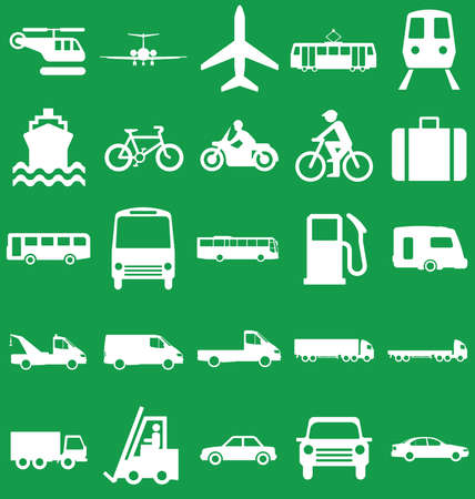 motor coach: Silhouette transport and travel related graphics collection isolated on green background Illustration