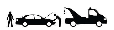 breakdown truck: Silhouette broken down car and breakdown truck isolated on white background Illustration