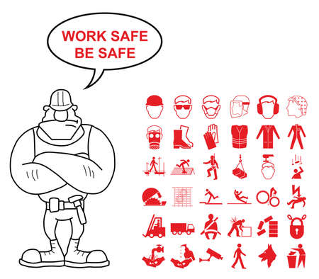 work safe: Red construction manufacturing and engineering health and safety related graphics set isolated on white background with work safe be safe message Illustration