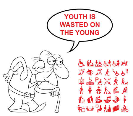 wasted: Red disability and people related graphics collection isolated on white background with comical youth is wasted on the young saying Illustration