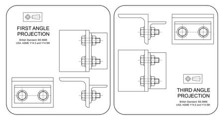 orthographic: Example of first and third angle orthographic projection drawing isolated on white background