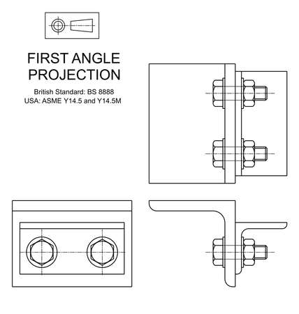 orthographic: Example of first angle orthographic projection drawing using rolled steel angle assembly