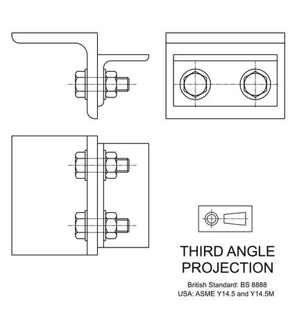 Example of third angle orthographic projection drawing using rolled steel angle assembly