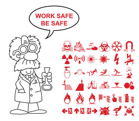 Red silhouette scientific hazard danger and emergency signage related graphics collection isolated on white background with work safe be safe message