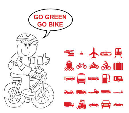 motor coach: Red silhouette transport and travel related graphics collection isolated on white background with go green go bike message Illustration
