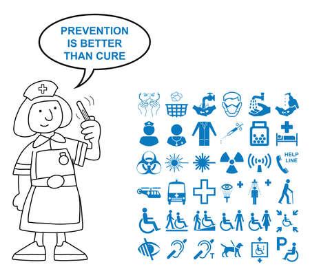 Blauw silhouet medische en grafische zorggerelateerde collectie op een witte achtergrond met voorkomen is beter dan genezen zeggen Vector Illustratie