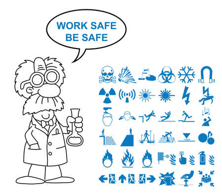 combustible: Blue silhouette scientific hazard danger and emergency signage related graphics collection isolated on white background with work safe be safe message