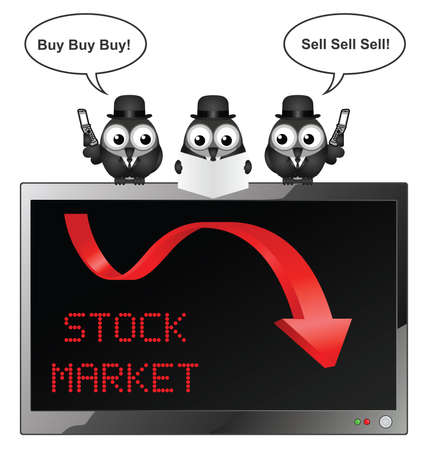 industrialist: Comical bird businessmen with buy and sell traders with the stock market crashing isolated on white background