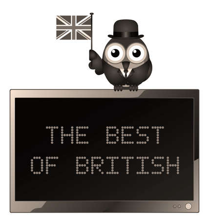 industrialist: Sepia Best of British with businessman bird waving the Union Jack flag for British trade and industry on the global market isolated on white background