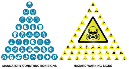 safety equipment: Mandatory construction health and safety and hazard warning related pyramid icon collection isolated on white background Illustration