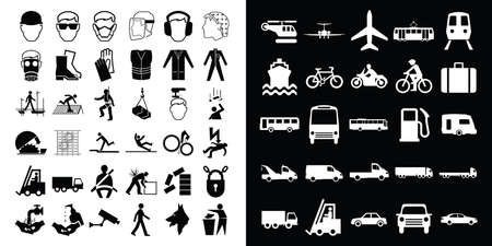 mandatory: Mandatory construction health and safety and transport related icon collection